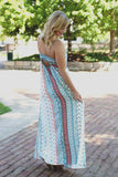 Vintage Print Braided Strap Detail Side Slit Maxi Dress