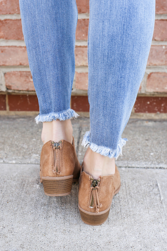 Faux Leather Distressed Ankle Cutout Booties Sochi-95