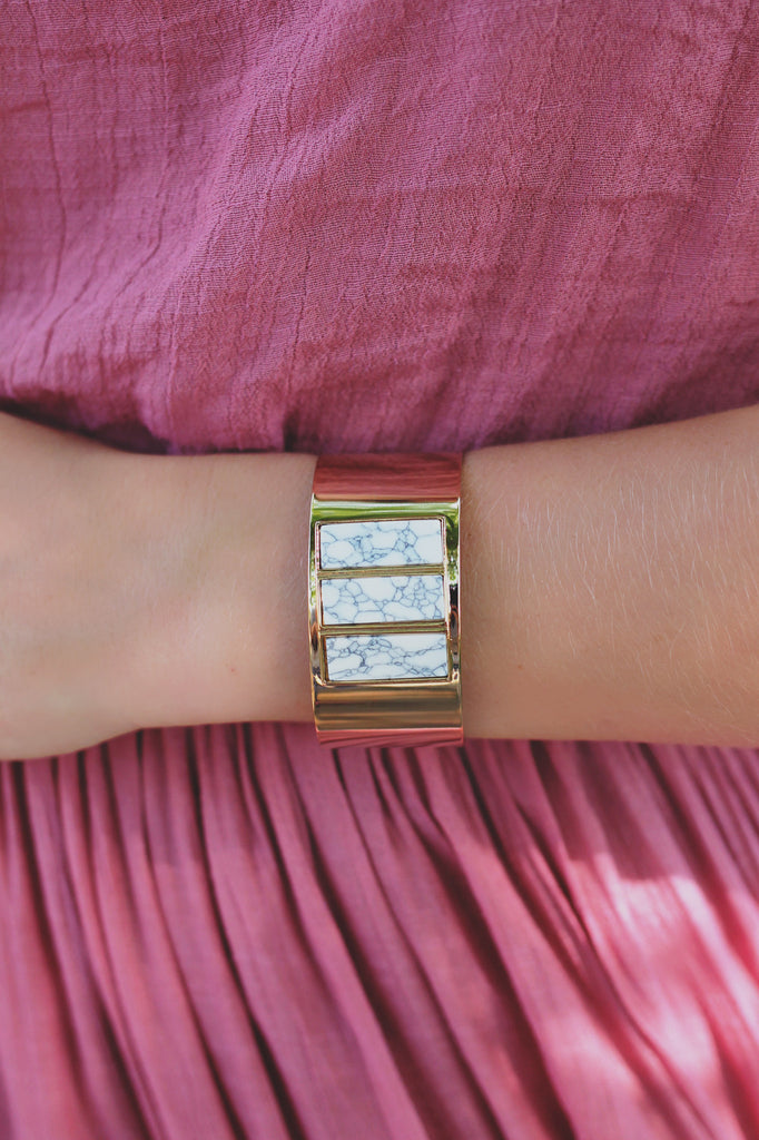 Square Faux Marble Stone Gold Cuff Bracelet
