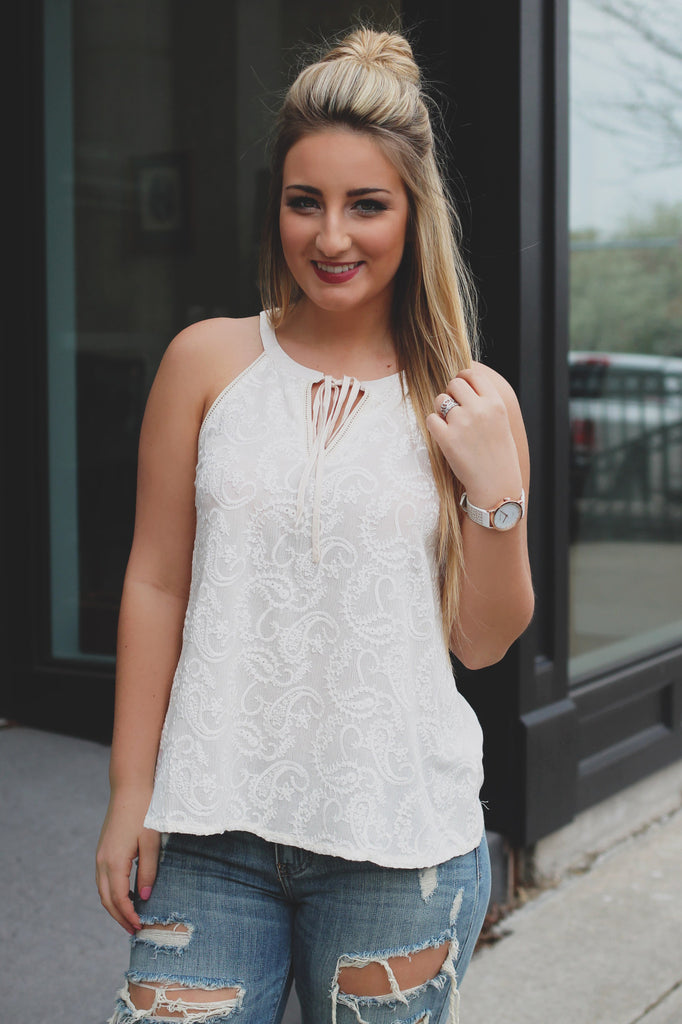 Ivory Paisley Embroidery Keyhole Neck Sleeveless Top