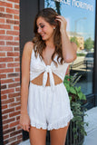 Sleeveless Cut Out Tie Front Ruffle Accent Embroidered Romper