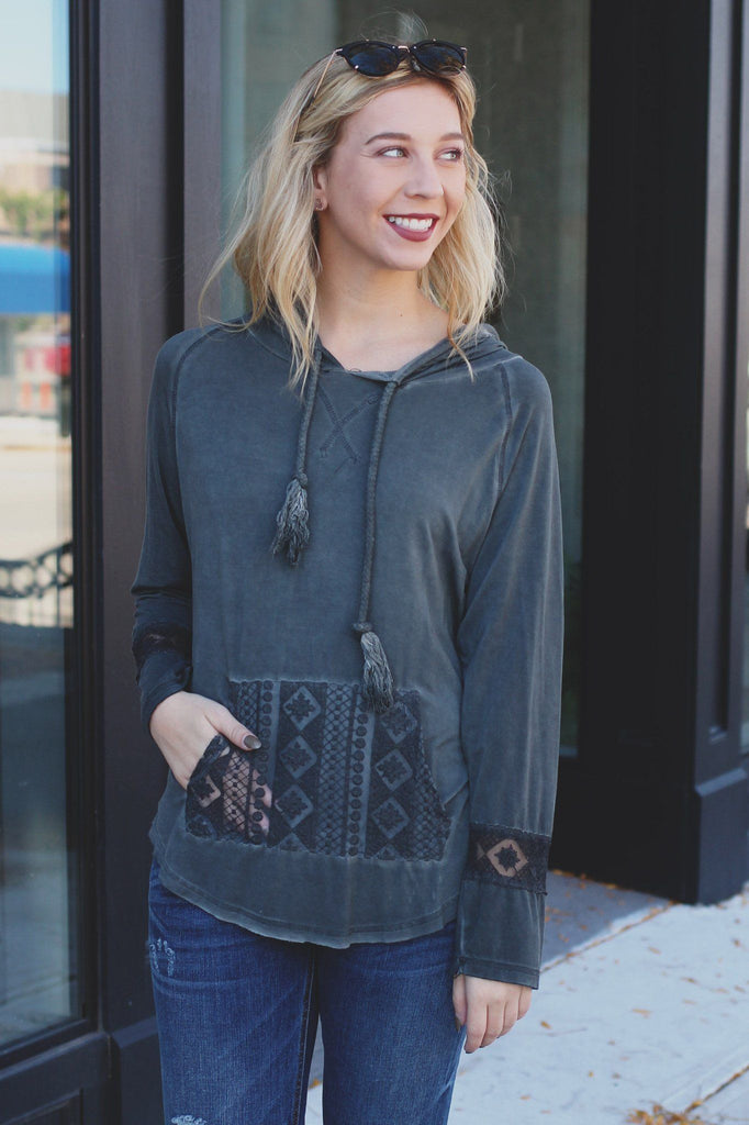 Charcoal Lightweight Mineral Wash Lace Detail Hoodie Top