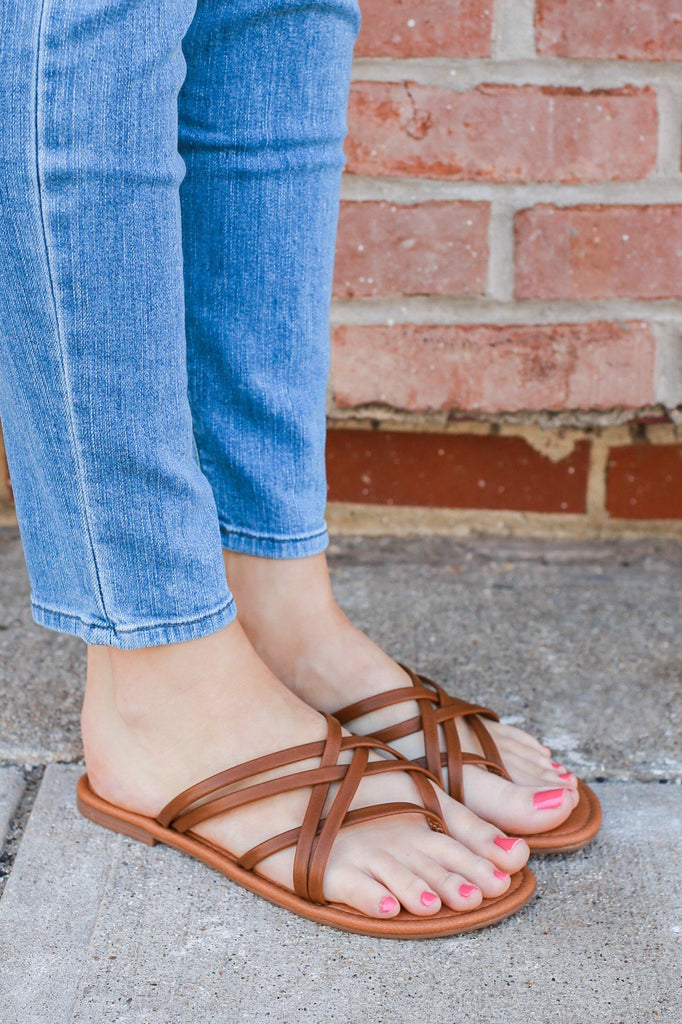 Tan Faux Leather Strappy Flat Boho Sandals Denver-s