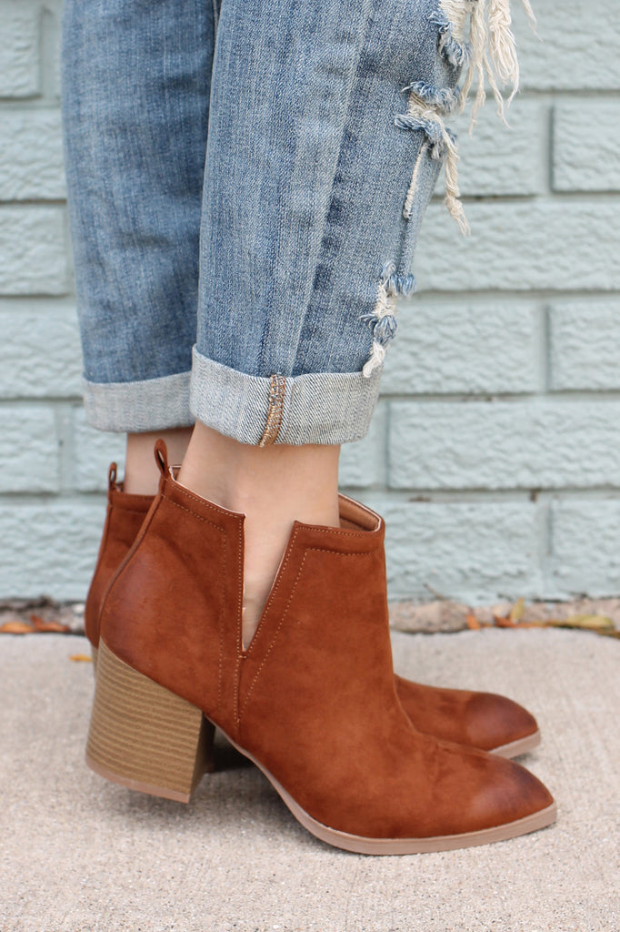 Camel Cut Out Wooden Heel Pointed Toe Booties Wilson-02