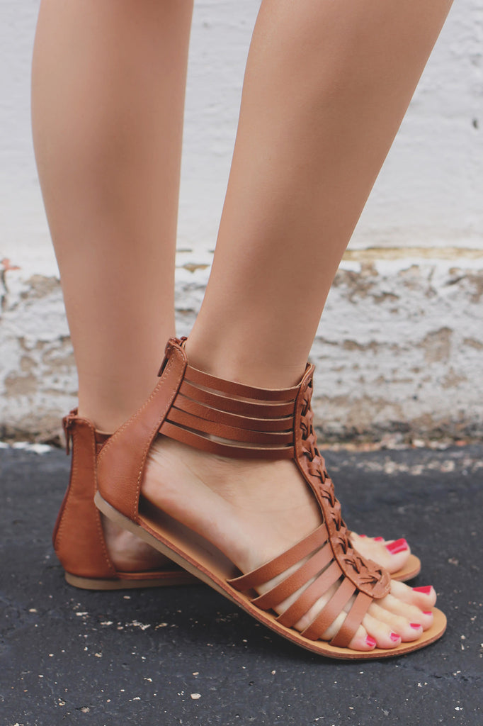 Whiskey Vegan Leather Strappy Flat Sandals Clover-06
