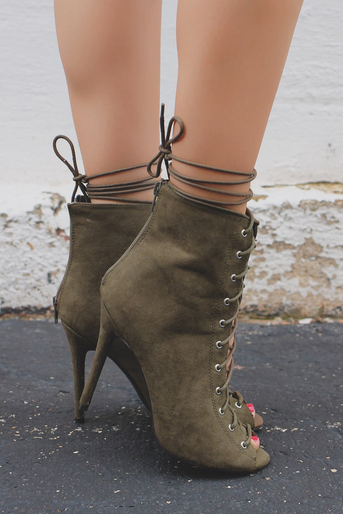Olive Faux Suede Peep Toe Laceup Stiletto Heels ARA-158