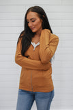 Camel Zip Up Sweatshirt - Online Clothing Boutique