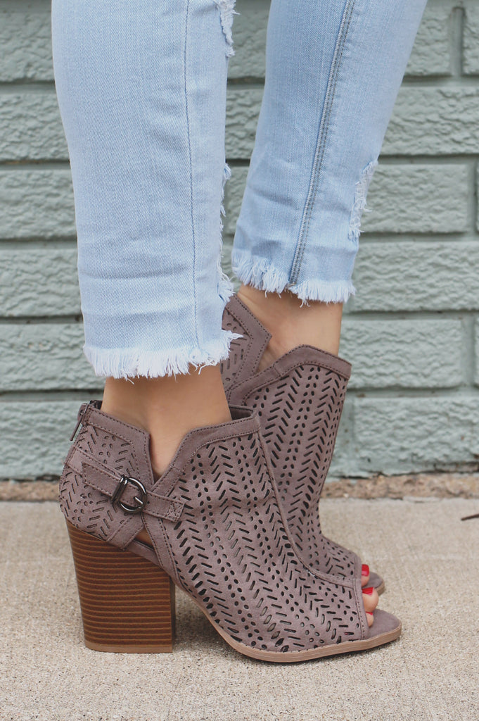Taupe Peep Toe Perforated Detail Booties Barnes-65A