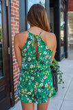 Sleeveless High Neck Keyhole Floral Print Romper