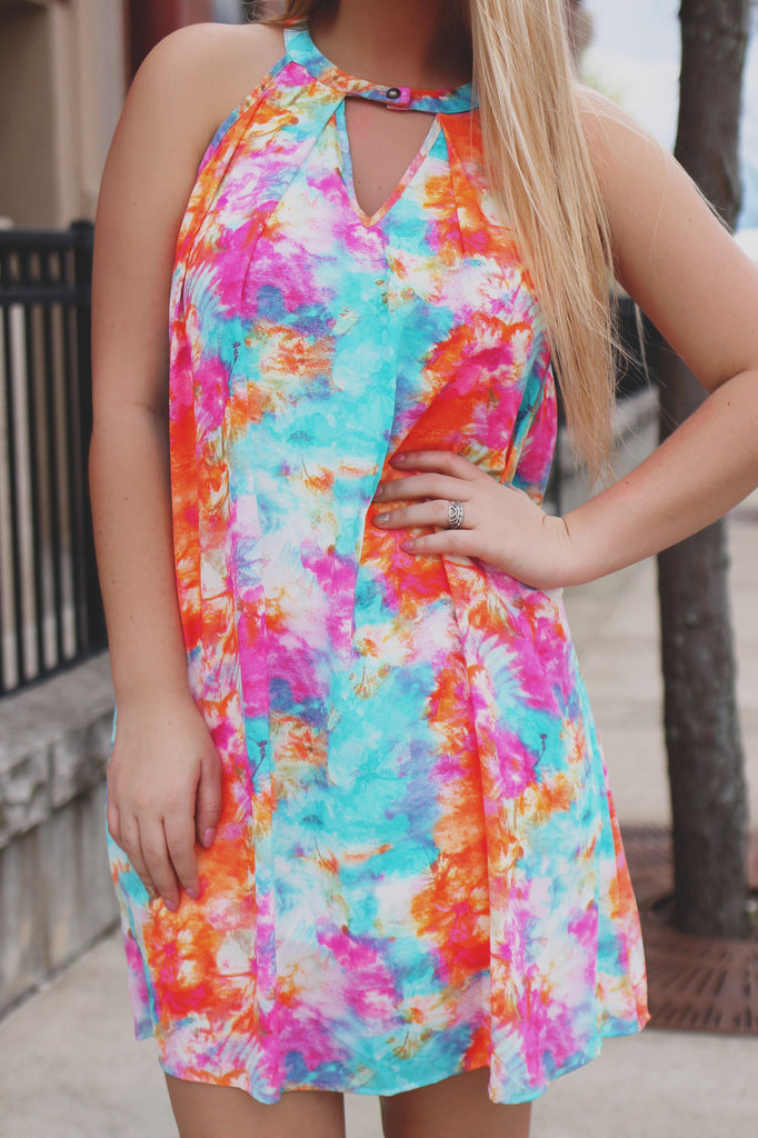 Watercolor Keyhole Neckline Sleeveless Trapeze Dress