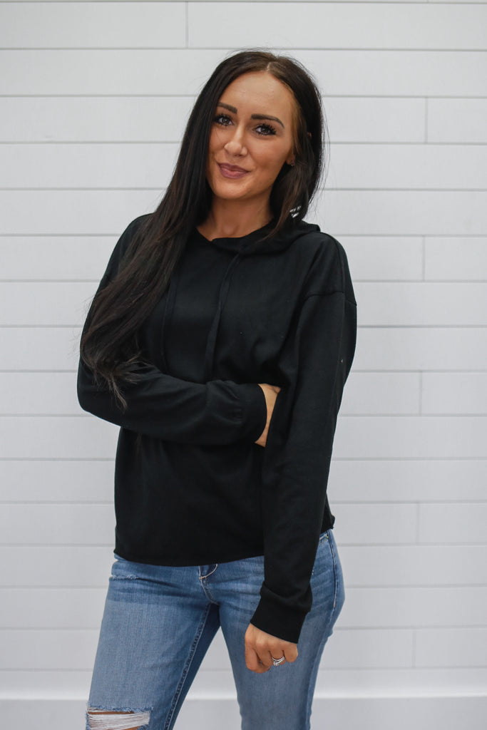 Black Hooded Sweatshirt - Online Clothing Boutique