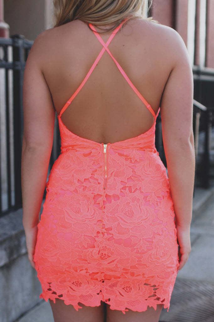 Neon Coral Open Back Floral Lace Bodycon Mini Dress