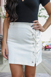 Lace Up White Mini Skirt - Online Clothing Boutique