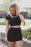 Short Sleeve Shoulder Cutout Crop Top