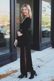 Long Sleeve Round Neck Cut Out Side Slit Maxi Dress