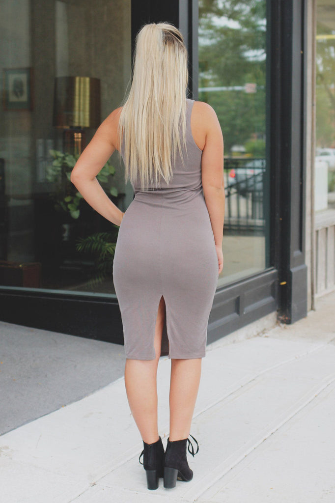 Taupe Lace Up Neck Back Slit Ribbed Knit Midi Dress
