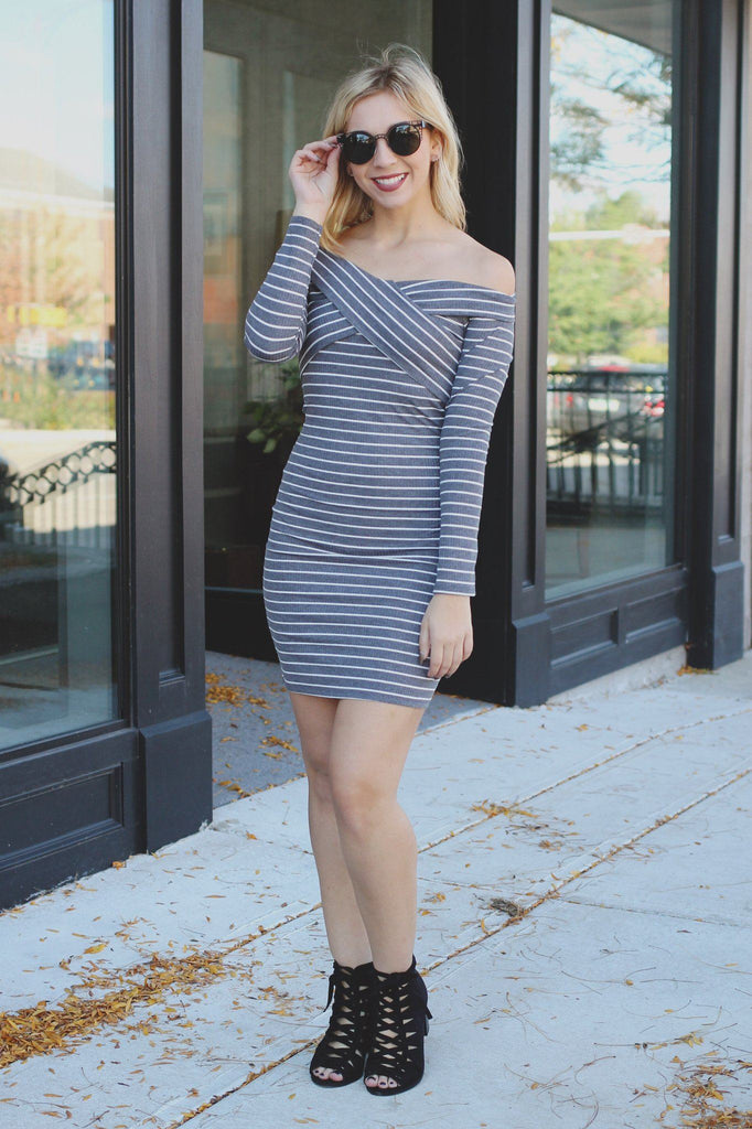 Long Sleeve Off the Shoulder Ribbed Knit Bodycon Dress