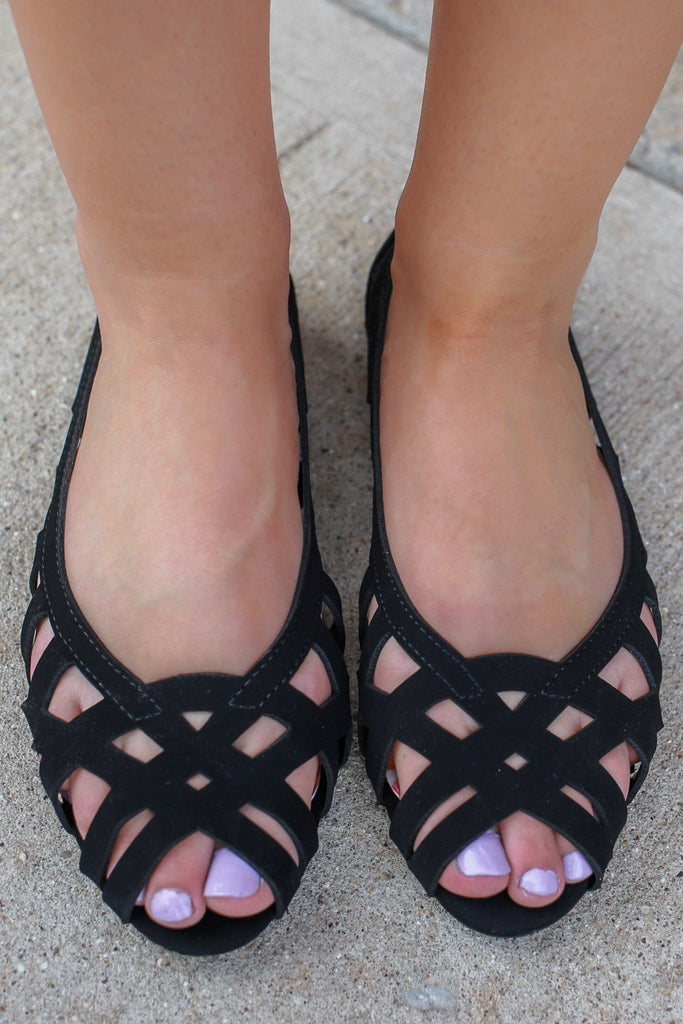 Faux Suede Cut Out Open Toe Flats Video-S
