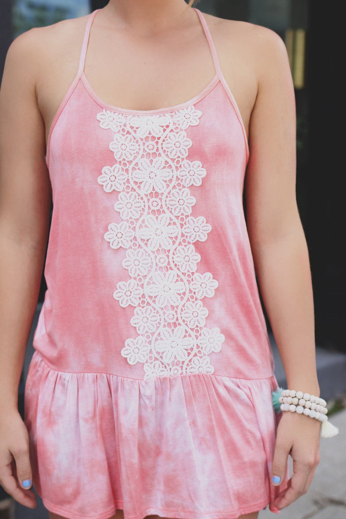Crochet Detail Mineral Washed Halter Neck Tank Top