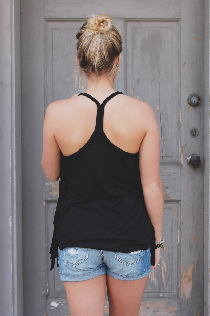 Black Fringe Side Braided Strap Accent Racerback Top