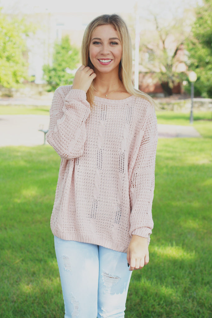 Blush Long Sleeve Oversized Open Knit Sweater