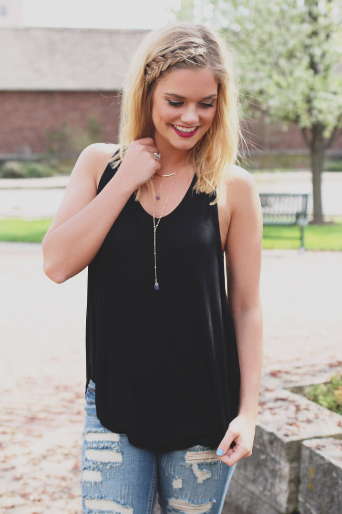 Black Racerback V-neck Side Slit Flowy Hemline Top