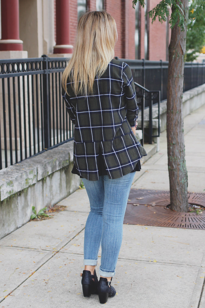 Tartan Plaid Long Sleeve Split Back Button Down Top