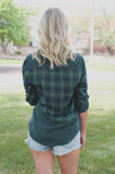 Plaid Button Down Long Pull Tab Sleeve Collar Top