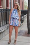 Watercolor Self Tie Halter Neck Elastic Waist Romper