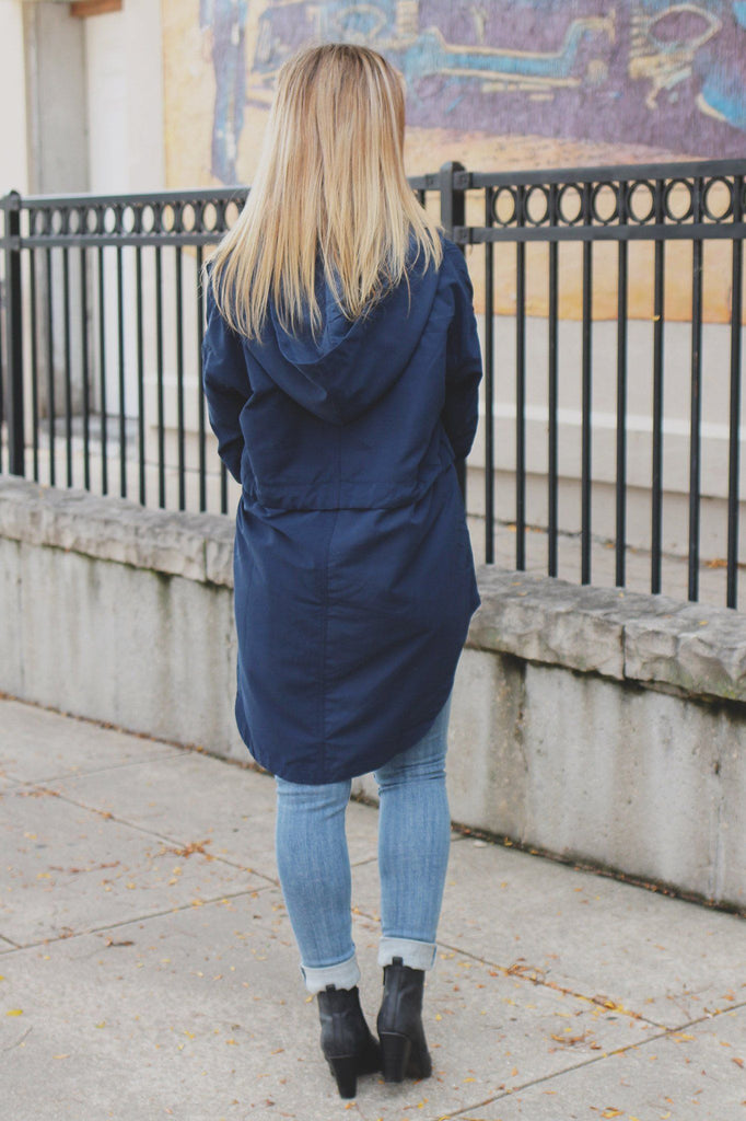 Navy Long Sleeve Hooded Drawstring Waist Jacket