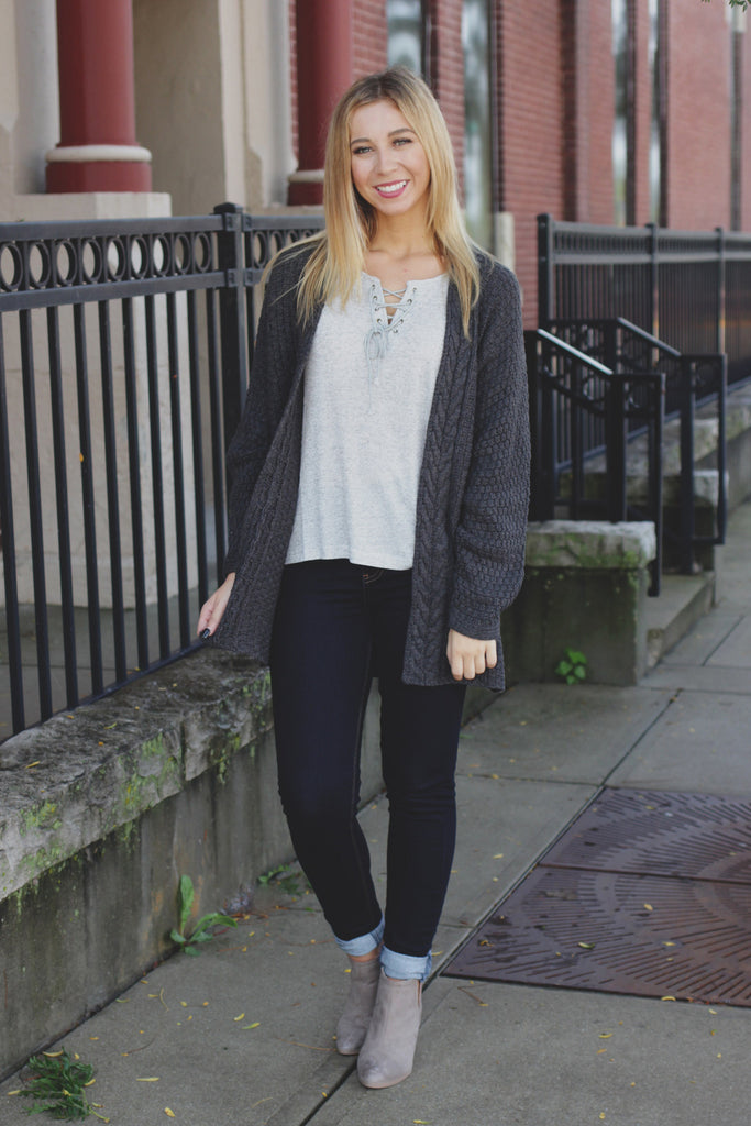 Charcoal Cable Knit Open Front Long Sleeve Cardigan