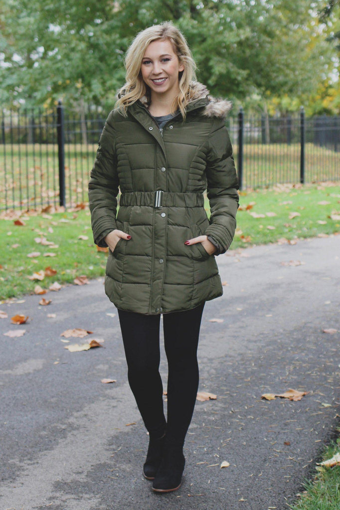 Removable Faux Fur Collar Belted Waist Puffer Coat