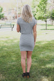 Grey Striped Crewneck Short Sleeve Bodycon Mini Dress