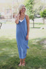 Carolina Blue Cami Strap Deep Vneck and Back Maxi Dress