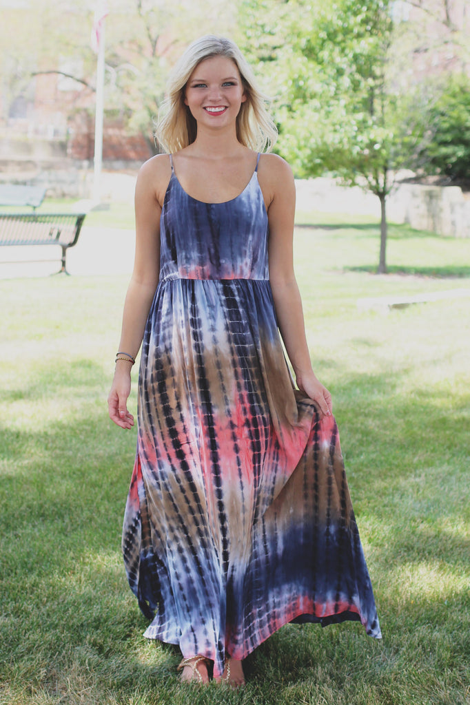 Navy Self Tie Strappy Back Side Slits Maxi Dress