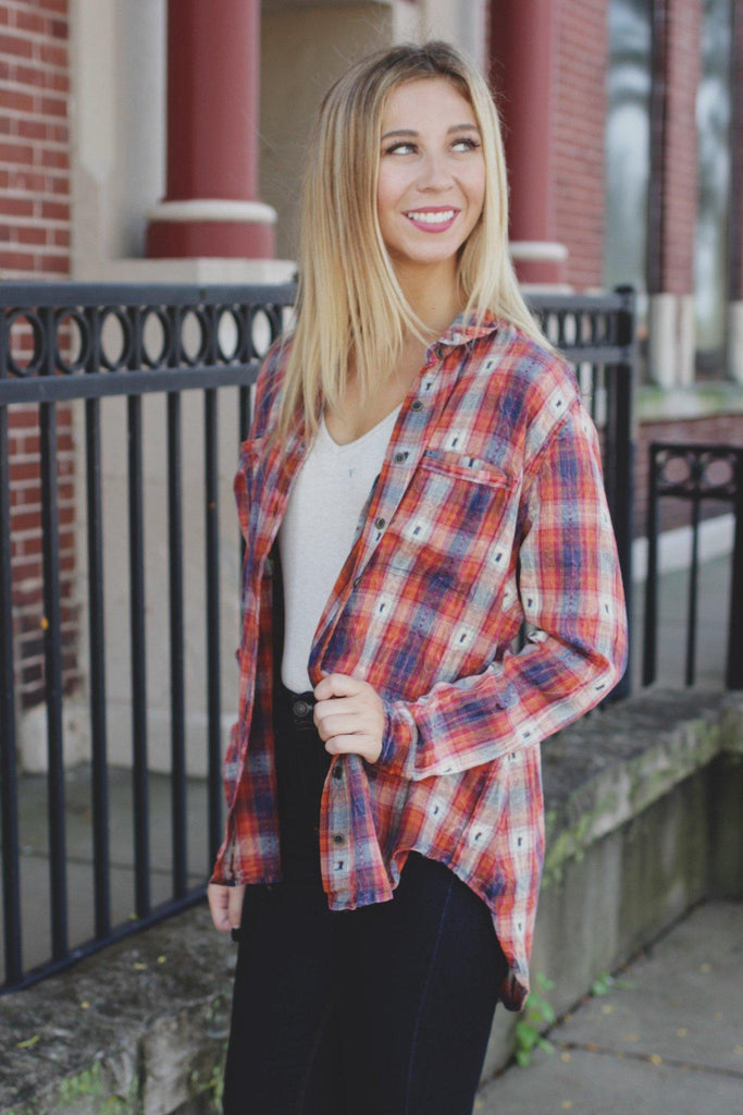 Plaid Long Sleeve Button Down Embroidery Detailed Top