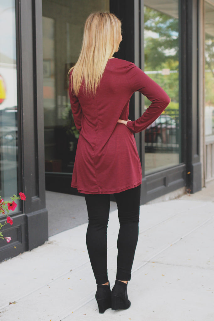 Wine Heathered Long Sleeve V-neck Top