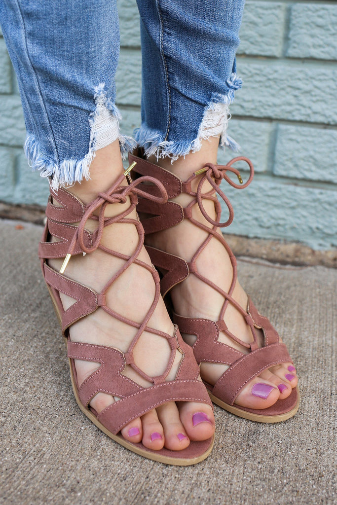 Faux Suede Gladiator Style Lace Up Heeled Sandal Dalton-01X