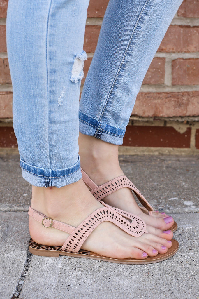 Faux Leather Perforated Flat Sandals Athena-1023A