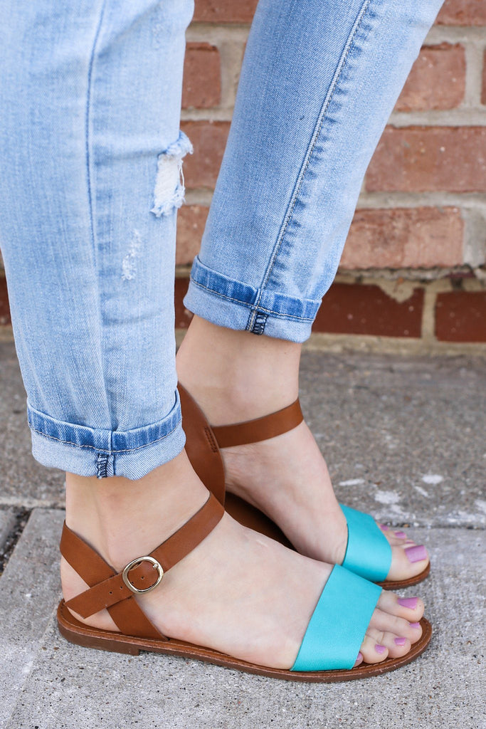 Aqua Toe and Ankle Strap Two Tone Flat Sandals Kylee-13