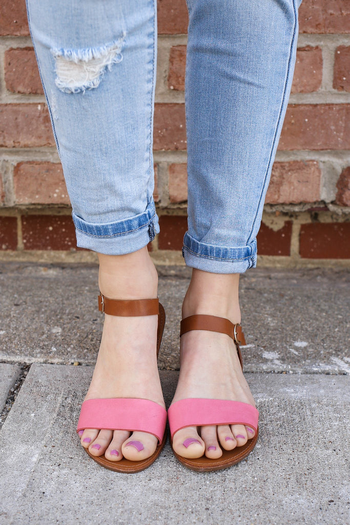 Rose Toe and Ankle Strap Two Tone Flat Sandals Kylee-13