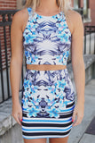 Floral Round Neck Sleeveless Bodycon Two-Piece Dress