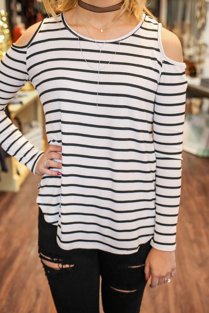 Long Sleeve Cold Shoulder Round Neck Ribbed Knit Top