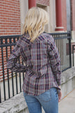 Plaid Button Down Long Sleeve Classic Collar Top
