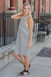 Striped Mineral Wash Crochet Trim Babydoll Dress