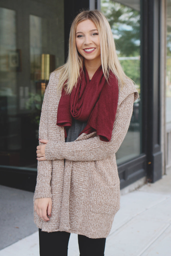 Oatmeal Long Sleeve Open Front Hooded Cardigan