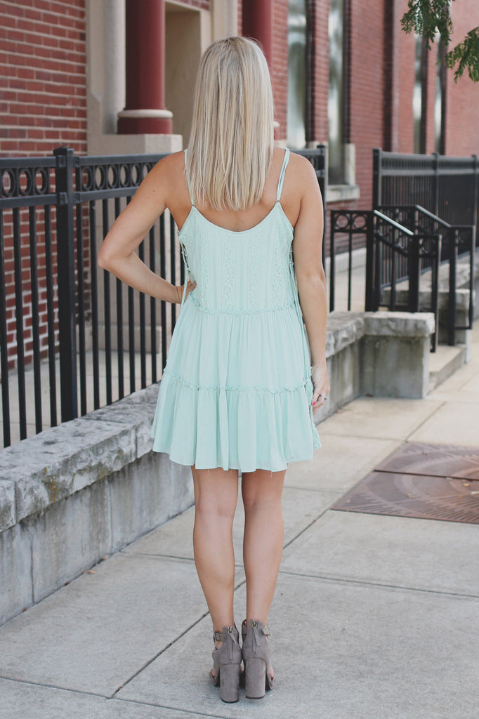 Lace Up Side Accent Lace Panel Tiered Trapeze Dress