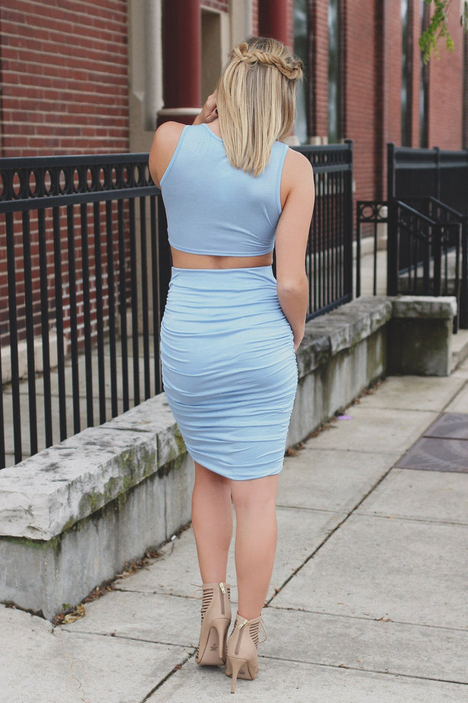 Sleeveless Tie Accent Top Ruched Skirt Two-Piece Dress