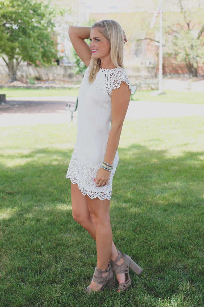 Ivory Cap Sleeve Crochet Detail Mini Shift Dress