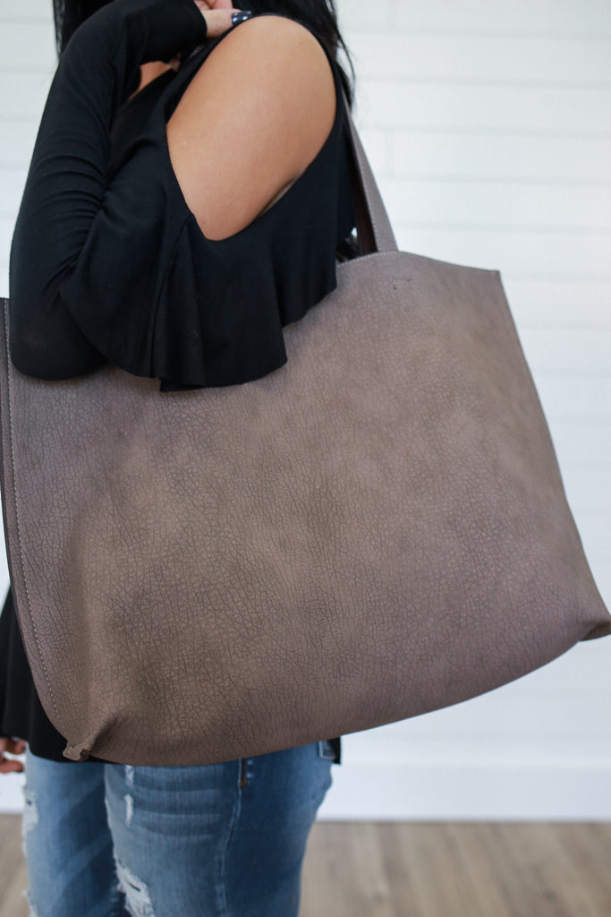 Weathered Faux Leather Tote - Online Clothing Boutique